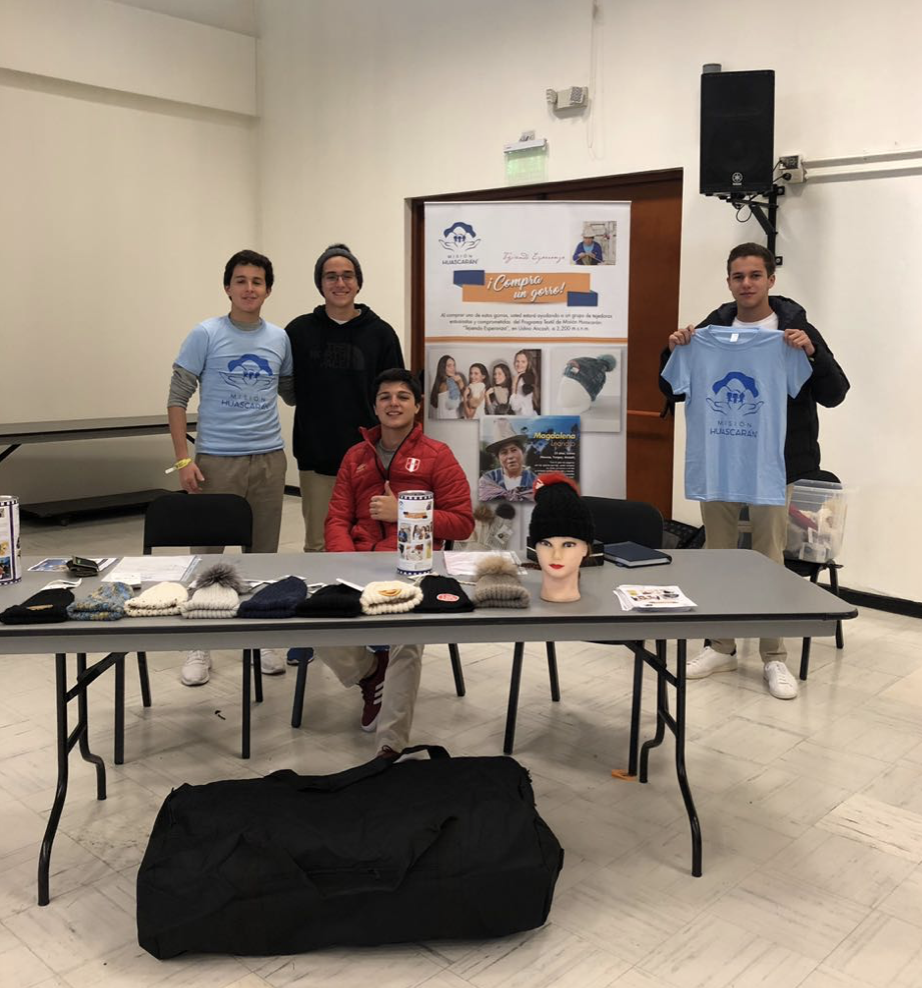 Students sold bags and alpaca hats at the 2018 Markham Kermesse. All proceeds went to Misión Huascaran, an NGO that supports Andean women and their businesses.